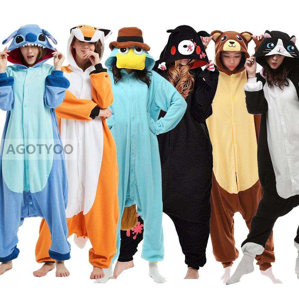 Adults Animal Pajamas Women Sleepwear Kigurumi All In One Pyjama Animal Suits Cosplay Stitch Lion Wolf Pajama Set Cartoon Pijama