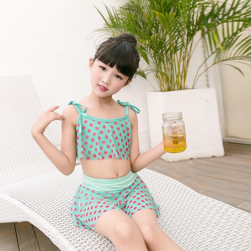 Girls Swimwear Cute Baby Fashion Polka Dot Skirt-Boxer Split Type Two-Piece Set CHILDREN'S Swimsuit