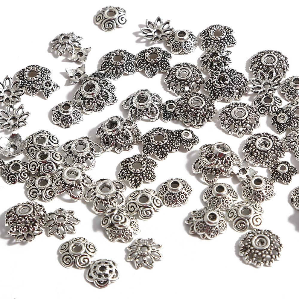 50cps/lot Antique Silver Color Tibetan Beads Caps End Caps Flower Beads Needlework For Jewelry Making Findings DIY Accessories