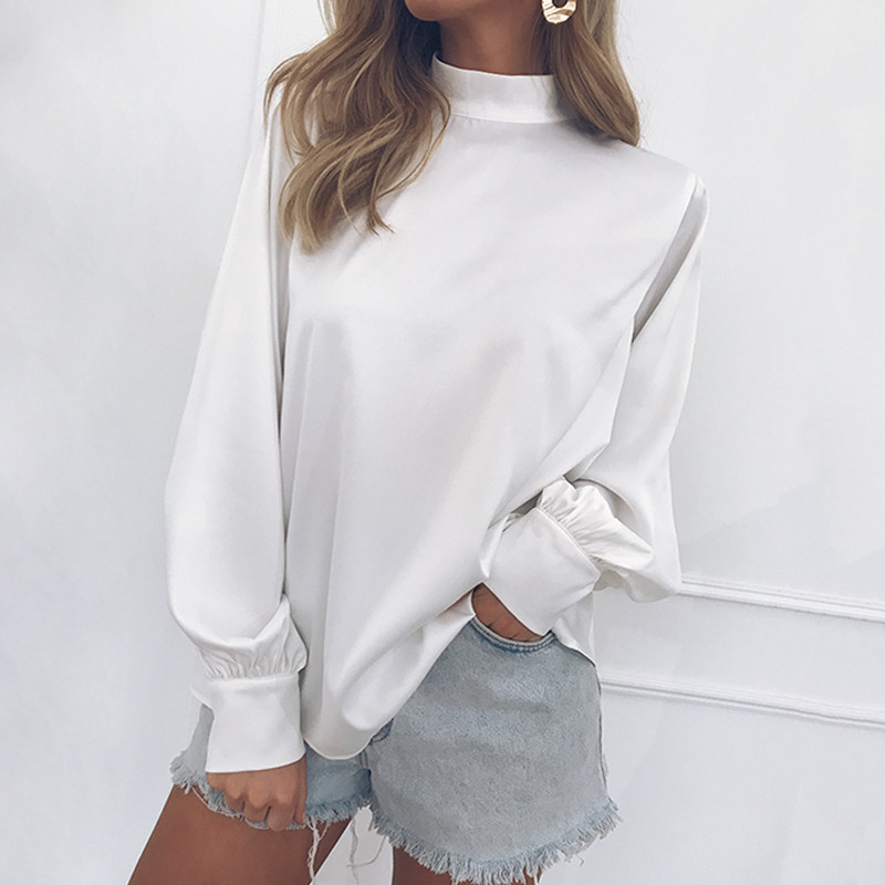 Autumn Women Fashion High-Collar Blouse Solid Color Lantern Sleeves Chiffon Shirt Casual Blouse