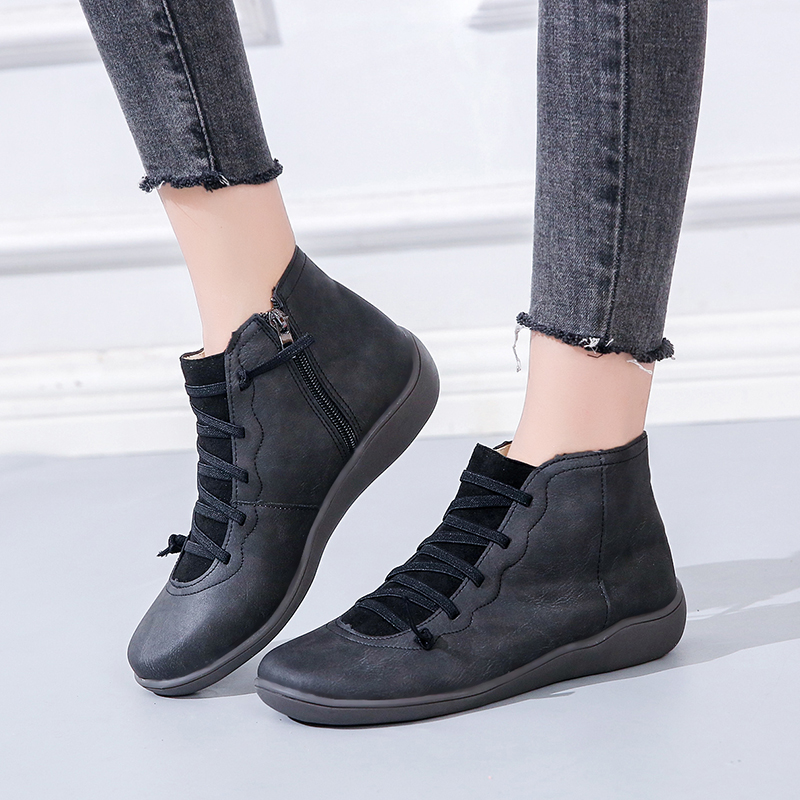 Lucyever Women PU Leather Ankle Boots Autumn Winter Cross Strappy Vintage Women Cowboy Shoes Woman Retro Work Botas Mujer