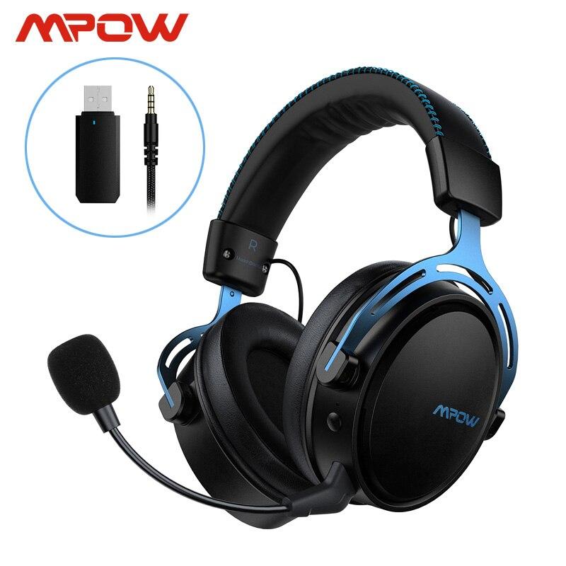 Mpow Air-auriculares estéreo para videojuegos, inalámbricos/con cable, para PS4, PC, Xbox One, 17h de autonomía, con micrófono, transmisor USB, espuma de memoria