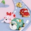 Миниатюрный мультяшный игрушечный автомобиль с животными, детские игрушки Монтессори, резиновый автомобиль, обучающий подарок для малышей...