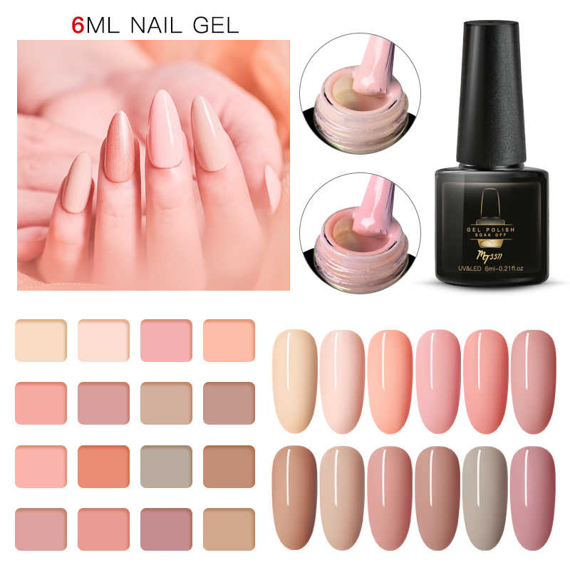 Mtssii Nude Warna Kuku Gel Polandia Manikur Semi Permanen Matte Base Top Coat UV LED Kuku Gel Varnish Rendam Off nail Art Lacquer