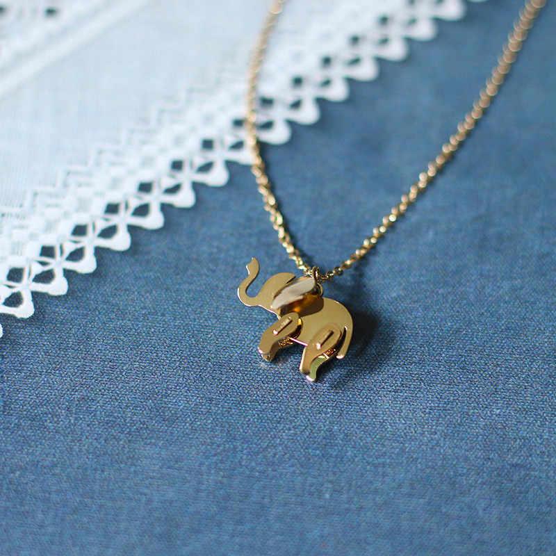חמוד נשי זהב שרשרת שרשרת Vintage חתונת שרשראות לנשים סטרלינג כסף פיל בעלי החיים תליוני שרשראות לנשים