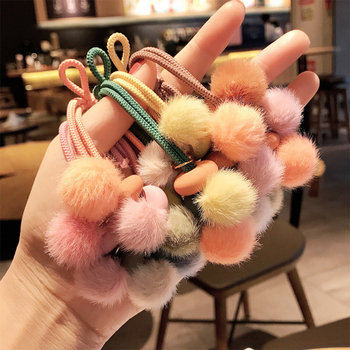 Cute hair ring soft younger sister ball ball rope female Korean version of simple tie hair rubber band hair rope heist image