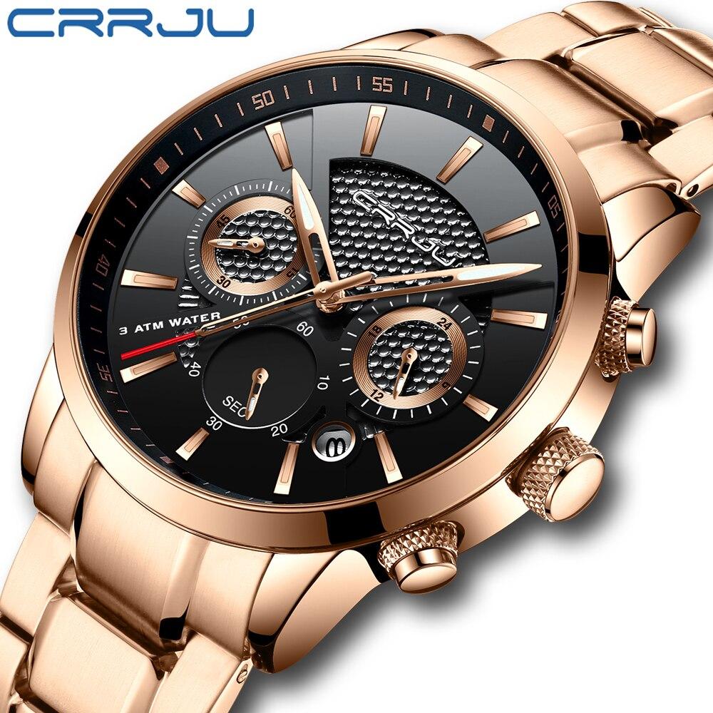 2019 montre n°1 des ventes hommes haut marque CRRJU luxe montres mode en acier inoxydable Quartz montre-bracelet relogio masculino reloj hombre