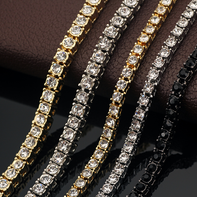 Fashion Iced Out Bracelet Necklace Men Link Tennis Chain Fashion Hip-Hop Jewelry Women 16/18/20/24/30inch Choker Chain Gift