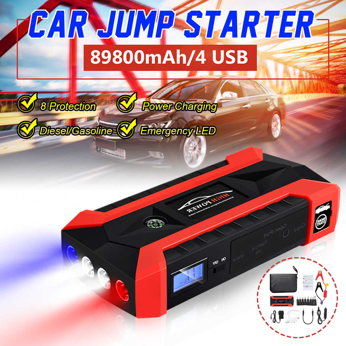 89800mAh 4USB Auto Jump Starter Multifunctionele Emergency Charger Batterij Power Bank Pack Booster 12V Start Apparaat Waterdicht