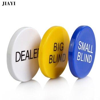 JIAYI melamina ronda Casino Dealer Chip Texas Poker Chip Sets pequeño ciego grande ciego crupier póquer monedas de plástico botones 3 unids/lote