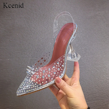Kcenid Transparent crystal wedding party shoes rivets pointed toe high heels sandals women slip on clear strap pumps women shoes