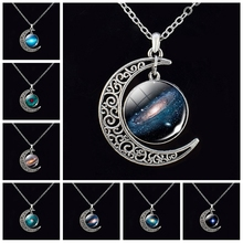 HOT SALE New Fashion Galaxy Jewlery Pattern Glass Cabochon Crescent Moon Pendant Necklace for Astronomy Enthusiasts Gifts