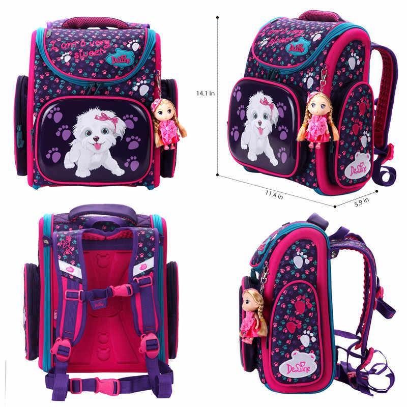 Delune Original Kinder Schule Taschen für Grade 1-4 Kinder Gefaltet Orthopädische Rucksäcke 3D Autos Hund Print Schul Mochila infantil
