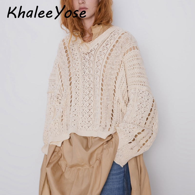 KHALEE YOSE Oversize Knitted Sweaters Hollow Out Casual Chic Women Pullover Vintage Loose Long Sleeve V-neck Tops Sweater Jumper