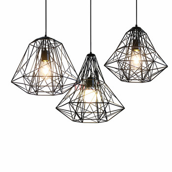 American Industrial Style Retro Lantern and Clothing Store Restaurant Bar Point Creative Single Iron Bird Cage Diamond