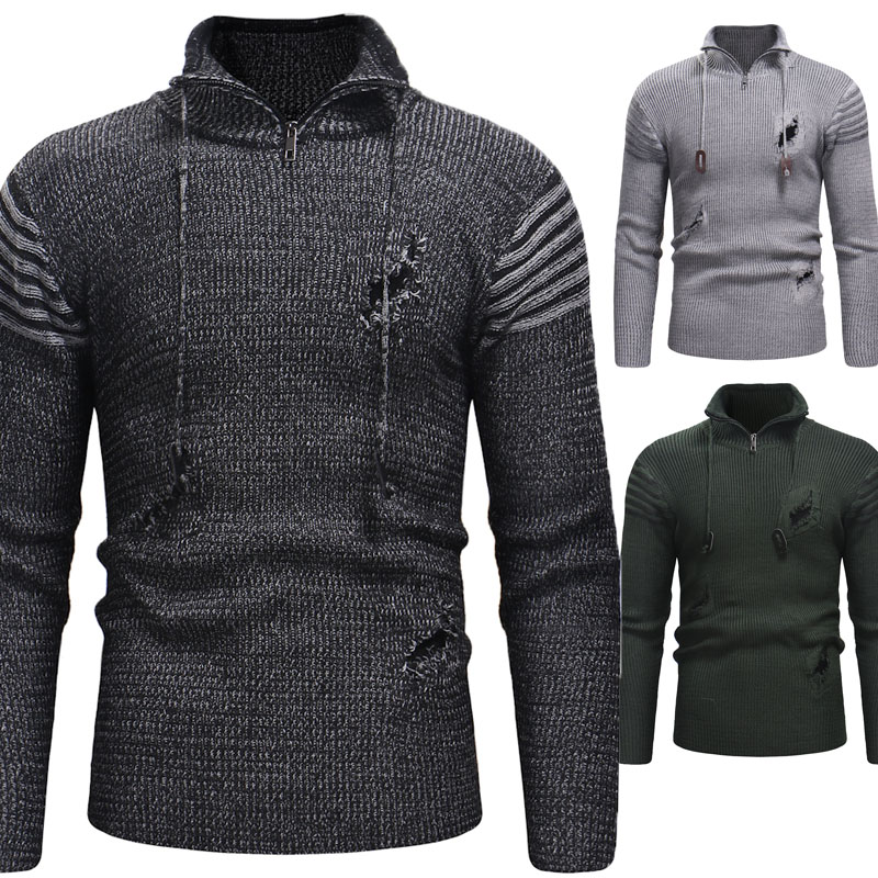 Mens Sweaters 2019 Men's High Quality Zip-hole Knitwear Men's Long-sleeved Solid Color Sweater
