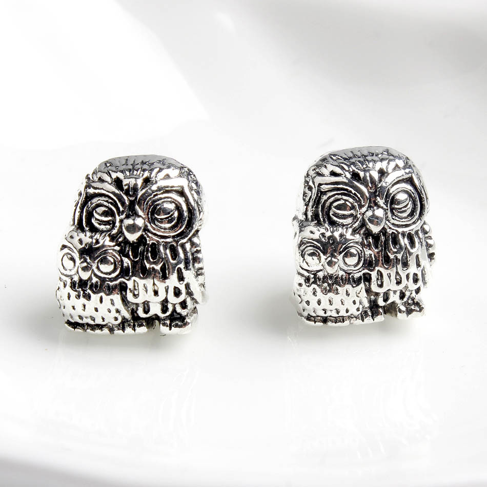 Silver Plated Bead Fit Lady Bracelet Bangle Cute Owl Owlet Mother & Kid Bird Charm DIY Jewelry Making