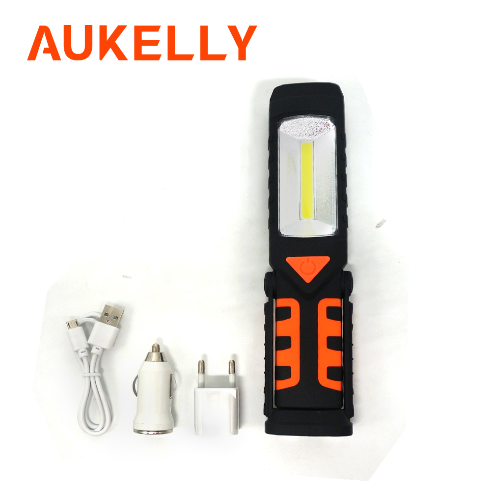LED COB Hand Torch Inspection Lamp Car Garage Work Light Handheld Rechargeable