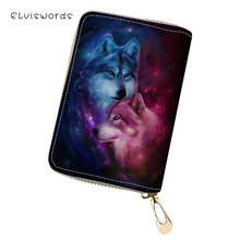 ELVISWORDS Womens PU Business Card Holder Fantasy Wolf Animal Pattern Girls Money Purse Bag Fashion Mini Cluth Wallets