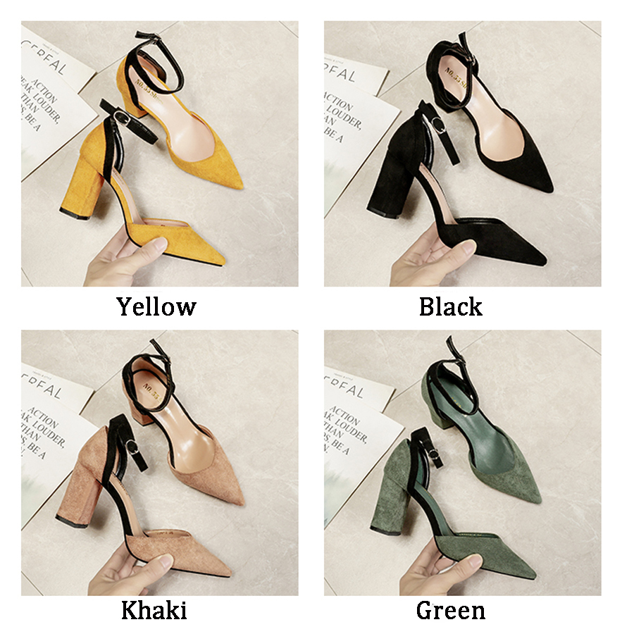 Summer Women's Shoes Pointed Suede Shallow Mouth Chunky-Heel Sandals Sexy Office Word Buckle Sandals Fashion Sandalia Feminina