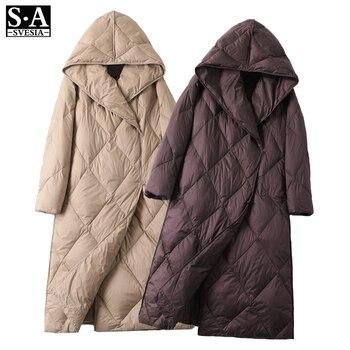 Blouson en duvet pour femme, blouson femme, doudoune légère, Ultra longue et chaude, Parka à capuche, vêtements d'hiver 2020 1