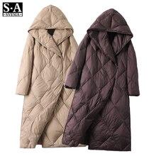 2020 Women's Winter Down Jacket Coats Women Light Ultra Long Warm Puffer Jacket Hooded Down Parka Female Outerwear Clothing