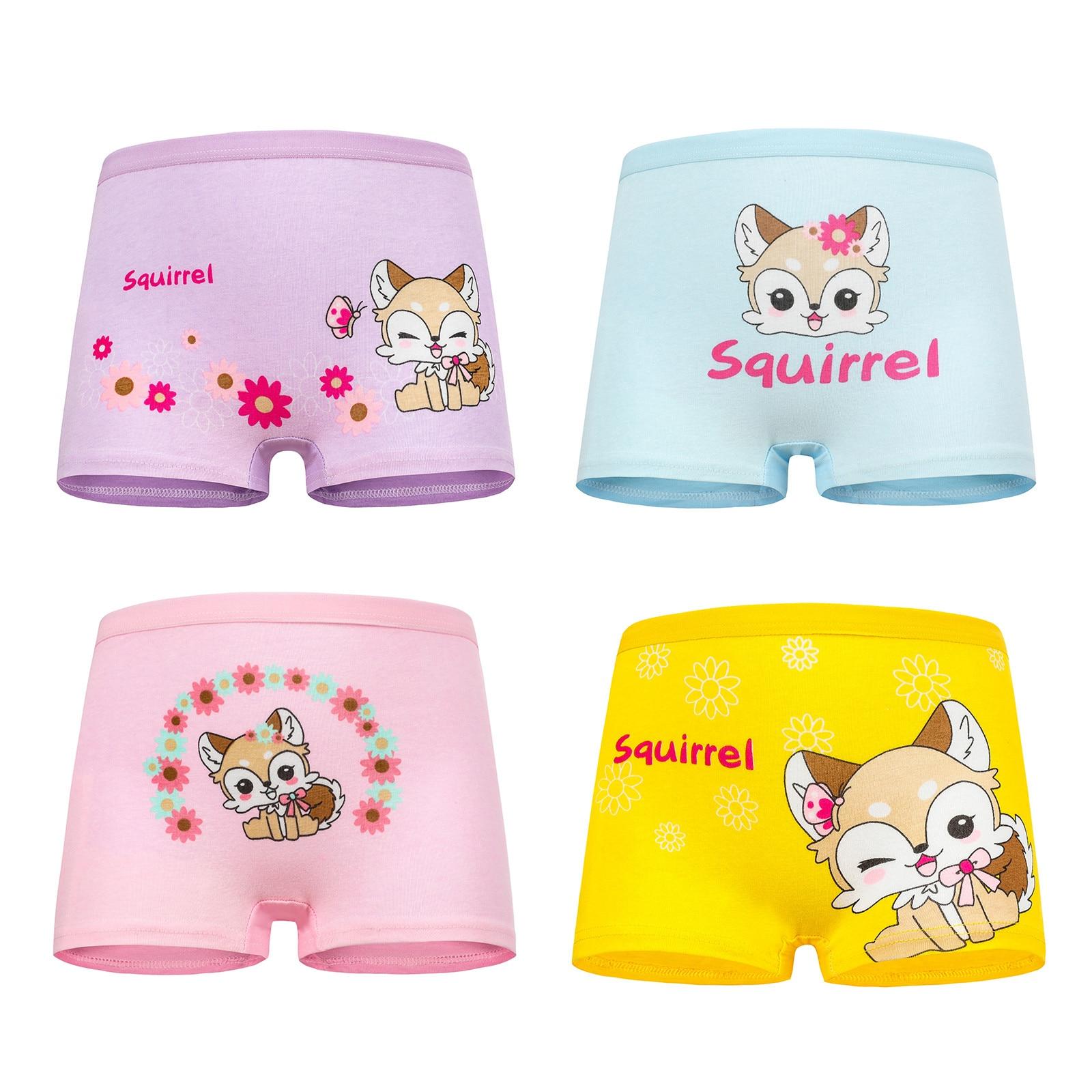 4 Pcs/lot New Children Cotton Panties Girls Underwear Cute Cartoon Printed Baby girls Kids Boxers Briefs Soft Panties for Girl