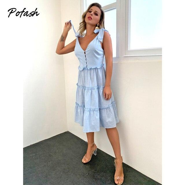 Pofash Blue Solid Midi Dress Women Spaghetti Strap Bow Sleeveless Ruffle Summer Dress V Neck Button Backless Sexy Vestidos 2021 5