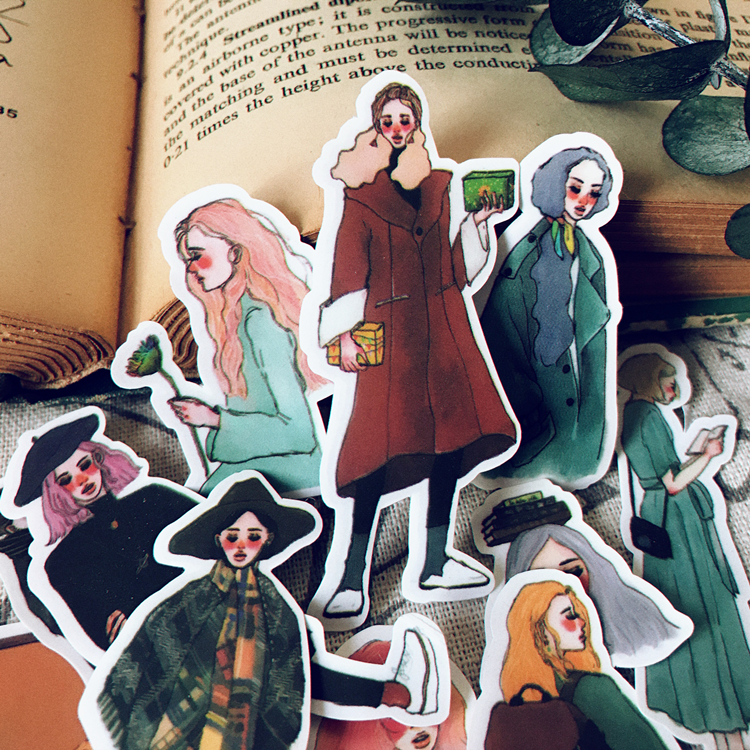14pcs Girl Winter Sweet Life  Stickers DIY Scrapbooking Album Junk Journal Happy Planner Decorative Stickers