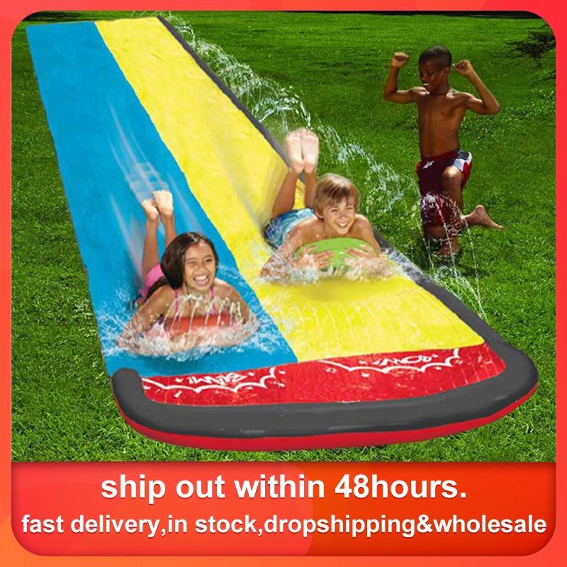 610x145cm çocuk çift sörf su kaydırağı açık bahçe yarış çim su kaydırağı sprey yaz su oyunları oyuncak kızak aquatiqu