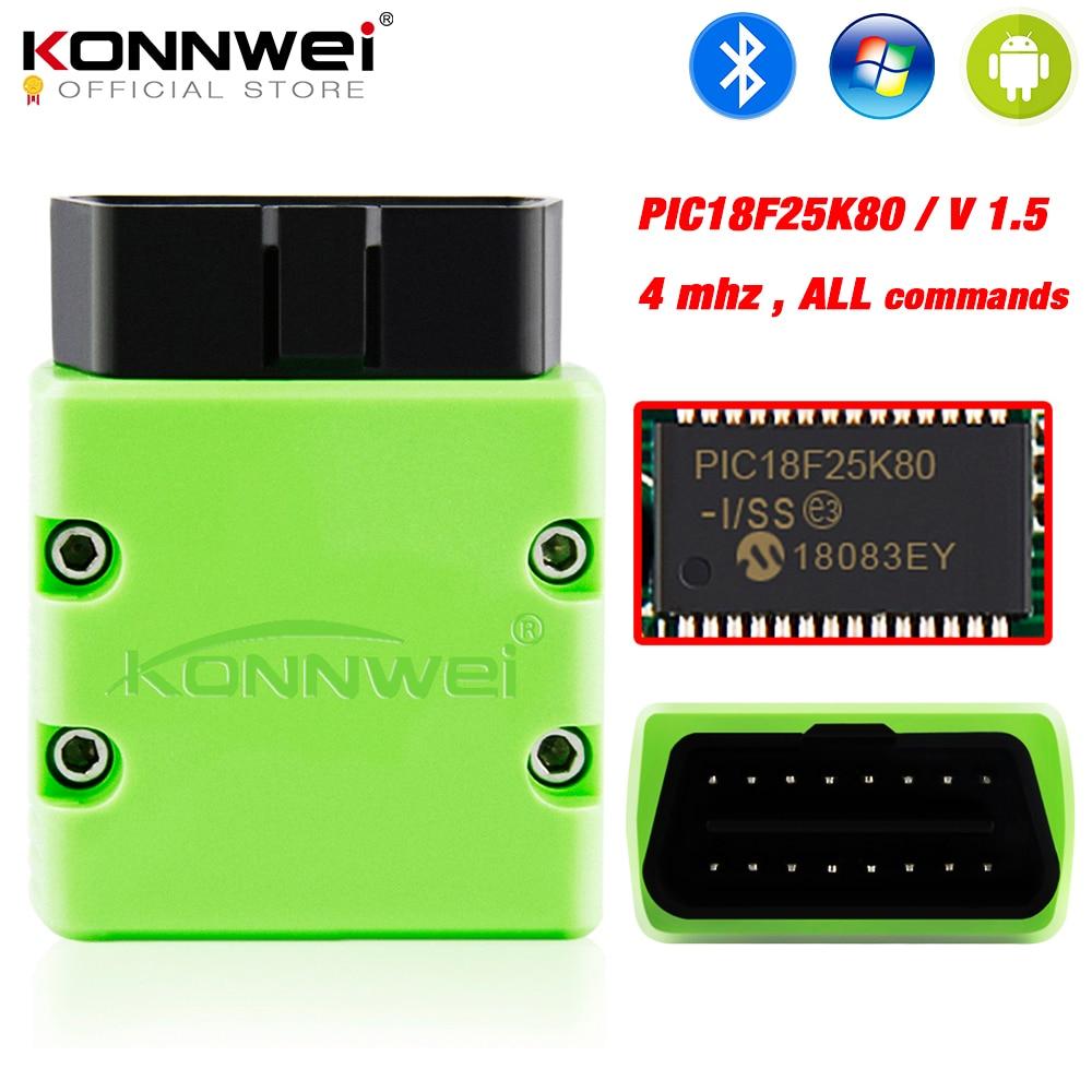 KONNWEI ELM327 V1.5 OBD2 Scanner KW902 Bluetooth Autoscanner  PIC18f25k80 MINI ELM 327 OBDII KW902 Code Reader for Android PhoneCode  Readers