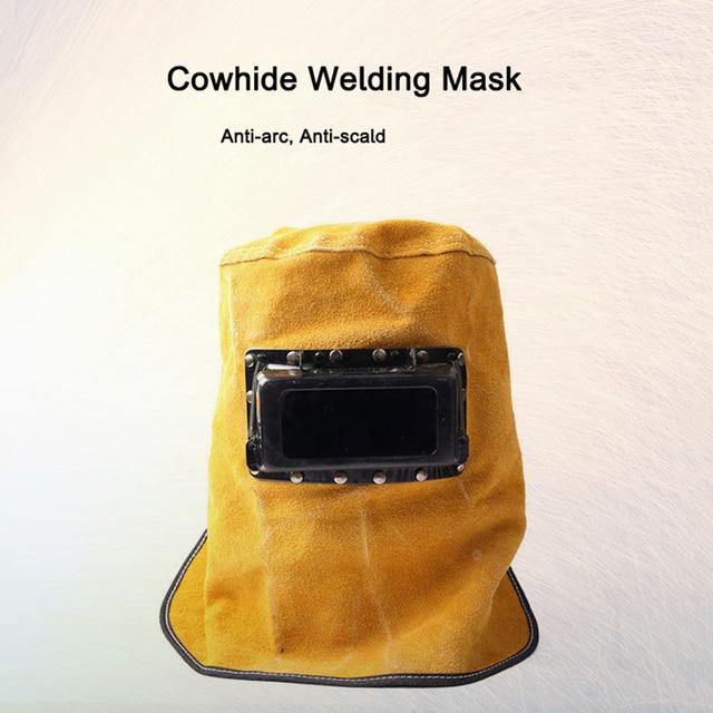 Cowhide Auto Dimming Lens Welding Mask Welding Hats Fire Flame Retardant Helmet Face Protection Hood welding shield Welder Cap