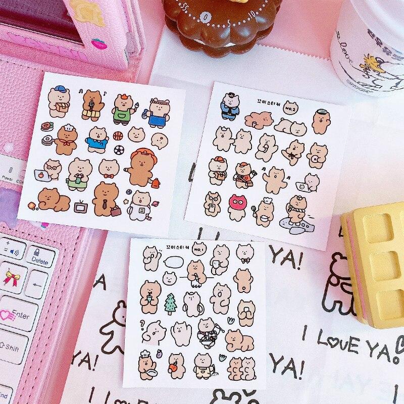 Cartoon Cute Embrace Bear Mini Paper Sticker Decoration DIY Album Diary Scrapbooking Label Sticker Kawaii Stationery