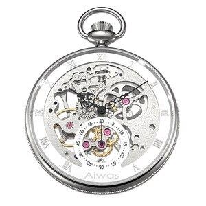 Relógio de bolso, colar de mão vento mecânico top marca de luxo oco vintage roma calibração senhoras homens mulheres relógio