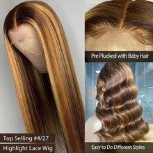 Brasileiro ombre 1b27 destaque cor natural linha fina de seda em linha reta transparente 13x 4/6 perucas dianteiras do laço com cabelo do bebê para mulher