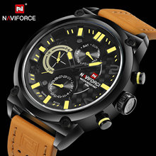 NAVIFORCE Luxury Brand Fashion Casual Watches Men Quartz Chronograph Wrist Watch Brown Leather Strap Waterproof Sport Male Clock