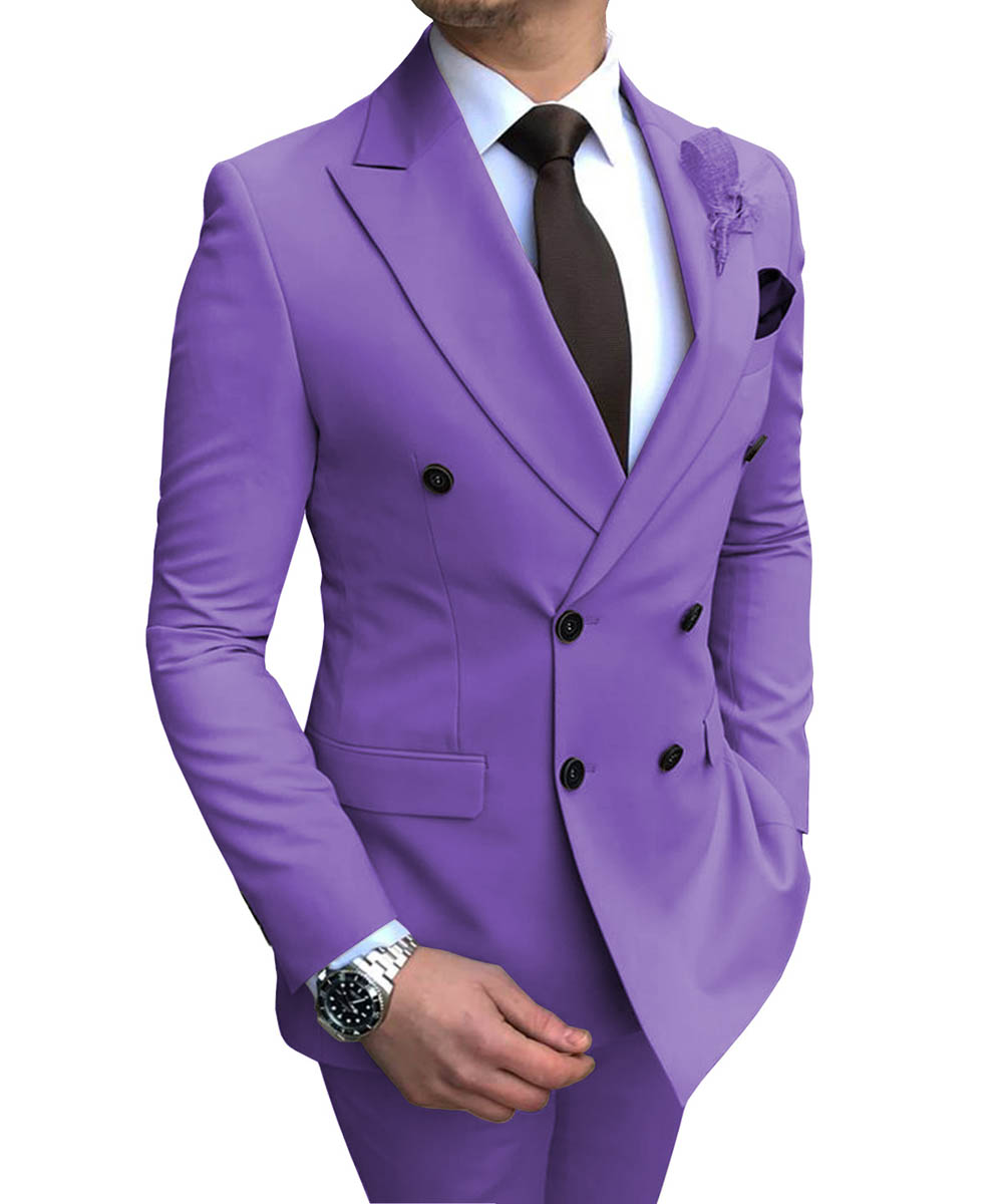 New Purple Men's Suit 2 Pieces Double-breasted Notch Lapel Flat Slim Fit Casual Tuxedos For Wedding(Blazer+Pants)