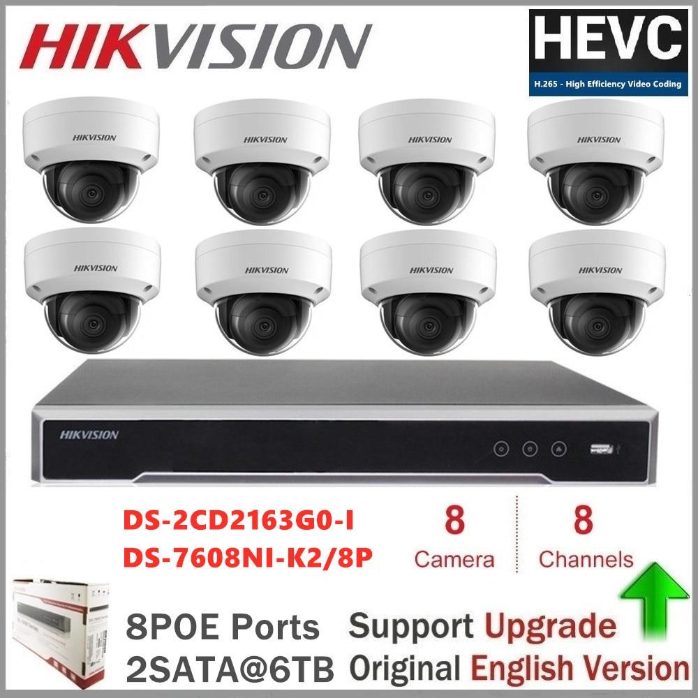 Hikvision système de caméra de sécurité DS-2CD2163G0-I 6MP IR dôme IP caméra prise en charge PoE IR 30M EZVIZ hik-connect ONVIF mise à niveau