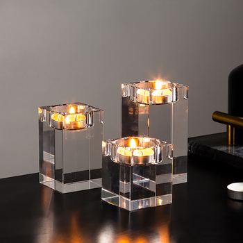 Solid Crystal Clear Square Glass Tealight Candle Holders 1