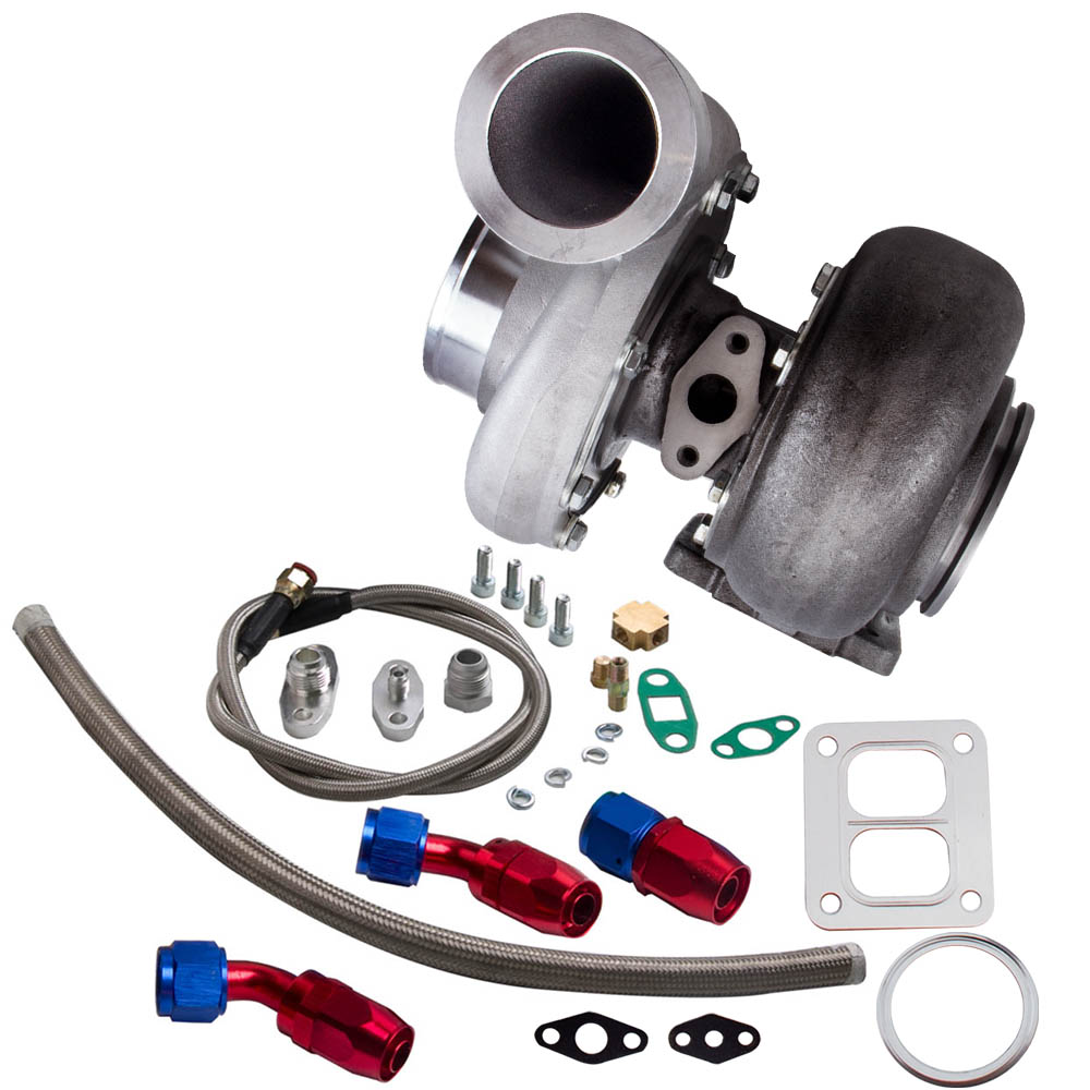GT45 T4/<font><b>T66</b></font> Racing V-Band <font><b>Turbo</b></font> Charger + Oil Drain Feed & Return Line kits Turbocharger - Up to 600 HP 1.05 A/R 98mm Turbine image