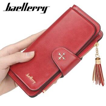 цена Baellerry 2020 Fahion Red Women Wallets Designer Slim Phone Wallets and Purses Long Housekeeper Leather Card Holder Purse онлайн в 2017 году