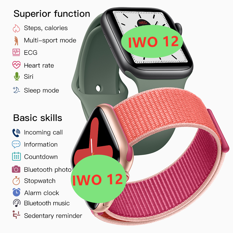 <font><b>IWO</b></font> 12 <font><b>Watch</b></font> series 5 1:1 Men Women <font><b>Smart</b></font> <font><b>Watch</b></font> 40MM 44MM Bluetooth <font><b>watch</b></font> iwo12 for apple iPhone IOS Android Control Siri image