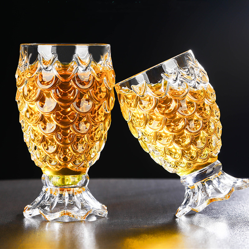 2 Pcs/Lot Crystal Beer Glass Clear Pineapple Shaped Whiskey Glasses Wedding Drinking Glass Drinkware Tumbler Set For Water Wine 1