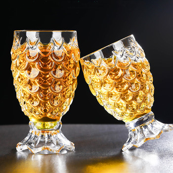 2 Pcs/Lot Crystal Beer Glass Clear Pineapple Shaped Whiskey Glasses Wedding Drinking Glass Drinkware Tumbler Set For Water Wine