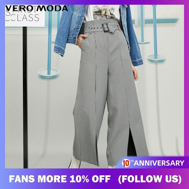 Vero Moda Winter Tall Waist High-rise Split Cuffs Wide-leg Pants | 319426501