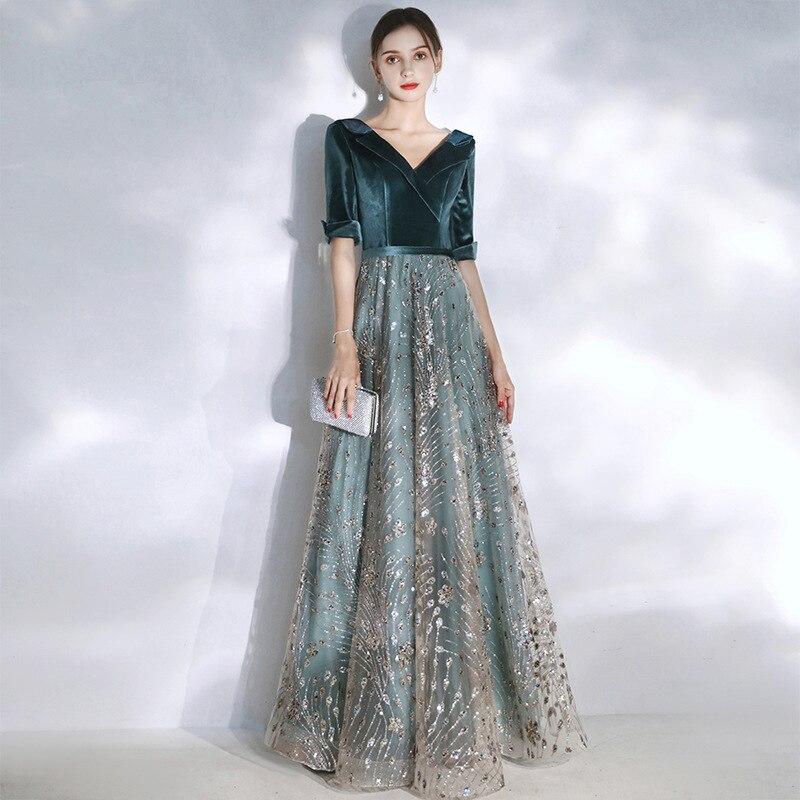 Elegant New Year Velvet Long Evening Dresses ES3065 Sexy Double V Neck Glitter Christmas Evening Dresses 2019 Formal Gowns