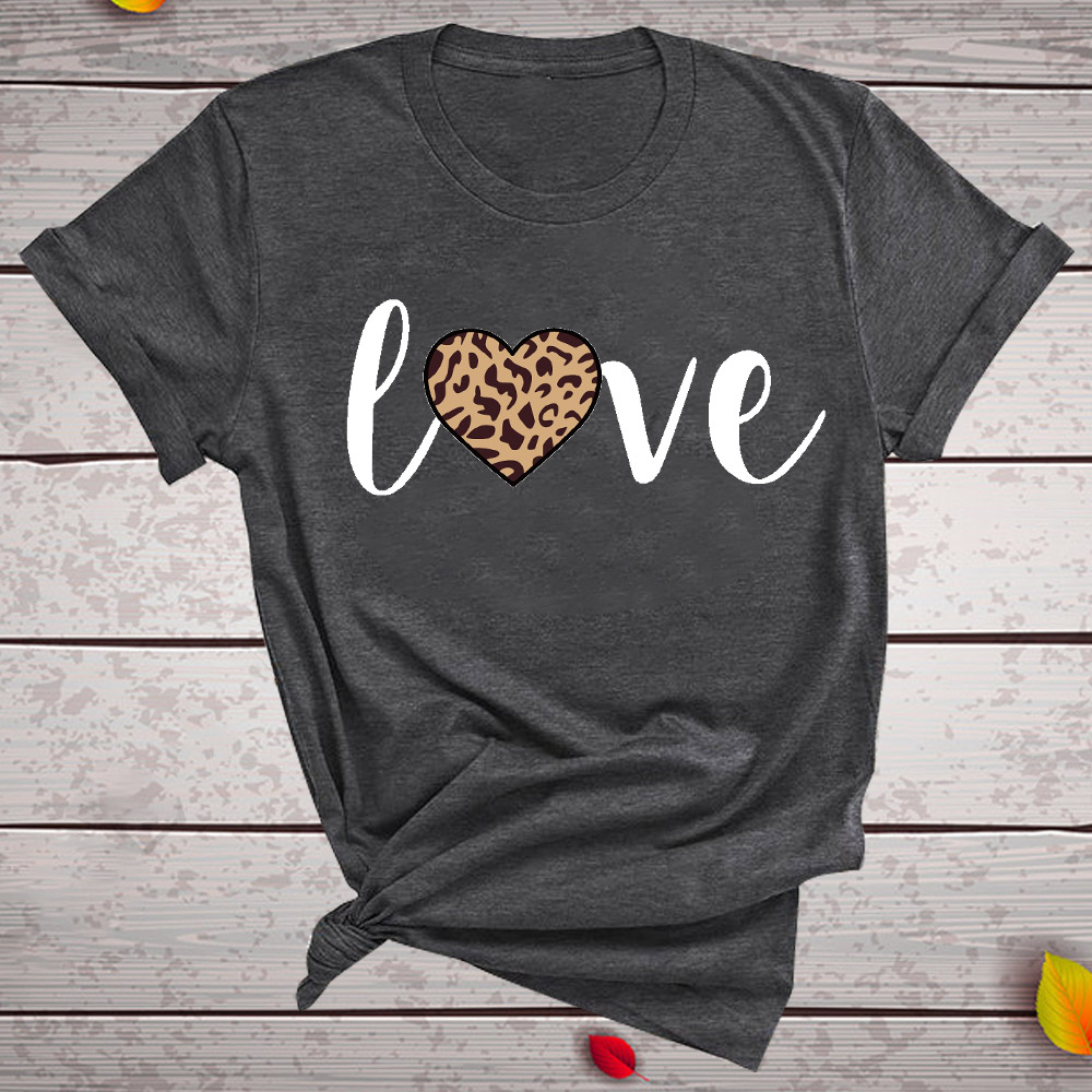 Leopard Heart Print Love T Shirts For Couples Women Fashion Short Sleeve Cute T-shirt Valentine's Day Tops Harajuku O-Neck Tees