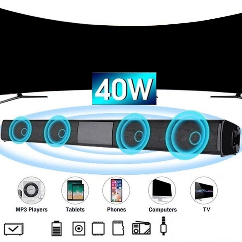 Sound Bar Speaker Wireless Music Speaker Home Theater Audio With Aux TF Card Microphone Stereo Speaker image