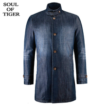 SOUL OF TIGER 2019 moda coreana larga ropa de abrigo para hombre Denim Parkas hombre algodón invierno chaquetas Vintage acolchado más tamaño