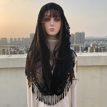 Popular NEW Black White Womens Catholic Veil Mantillas Veil Jerusalem Muslim Elegant Ladies Lace Tassel Shawl Scarf Church Cape